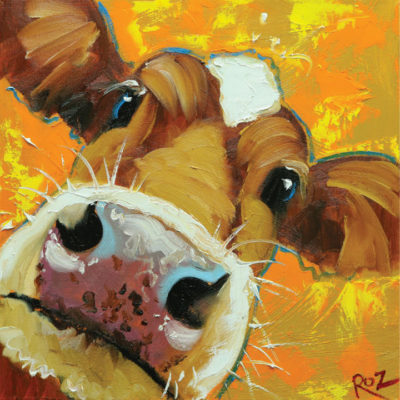 Close up painting of a cow