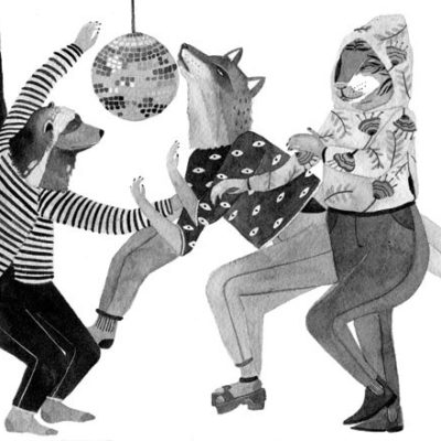 illustration of animals dancing under disco ball