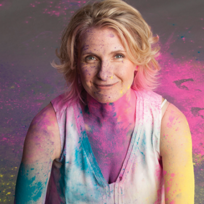 Elizabeth Gilbert covered in Holi Powder