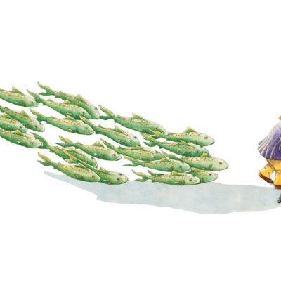 Illustration of woman herding fish
