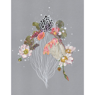 Illustration of jellyfish and flowers