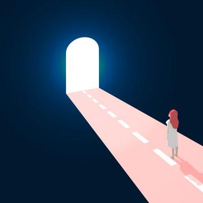 Woman stands at welcoming open door