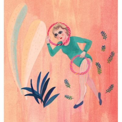 illustration of woman and hoops and plants