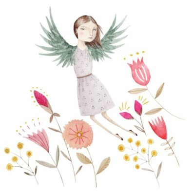 Illustration of girl with wings