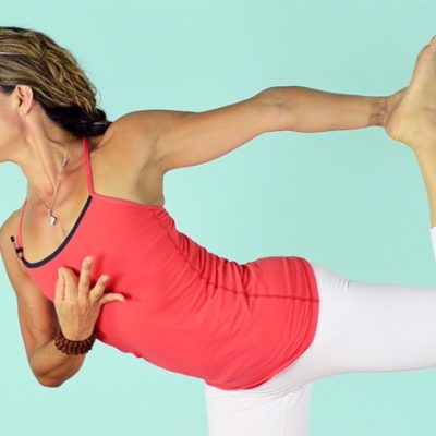 Woman in dancer pose variation