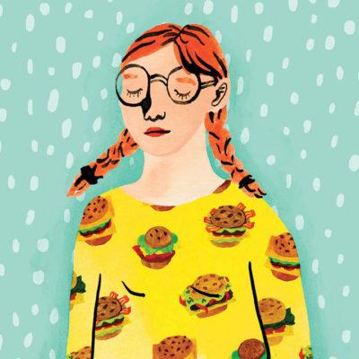 Illustration of girl with hamburger shirt