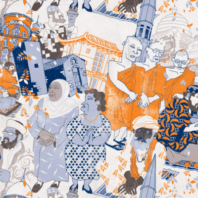 Colorful composition of various religious symbols and people