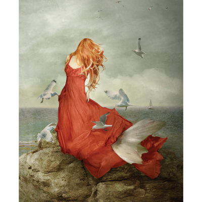 Woman with birds on water