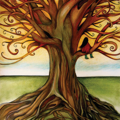 Illustration of tree and landscape