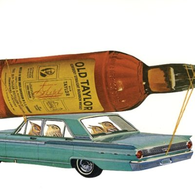 Illustration of liquor bottle on top of car