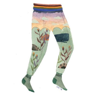Illustration of landscape on pants