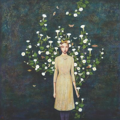 Late Bloomers by Duy Huynh, painting of a woman with flowers growing from her body