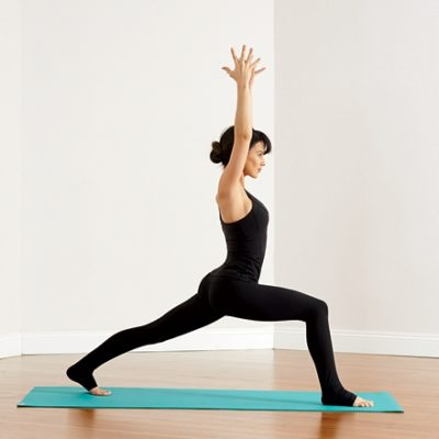 Woman in High Lunge Yoga Pose