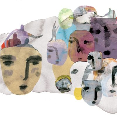Colorful abstract image of faces