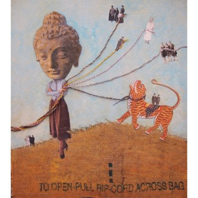 Mixed media illustration including buddha and tiger