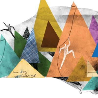 Abstract illustration of mountain climbing