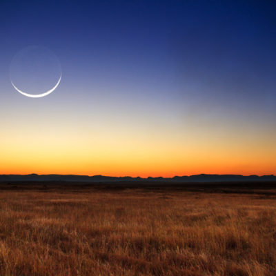 Beautiful new moon at sunset in Madagascar