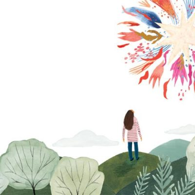 Illustration of girl looking at colorful star
