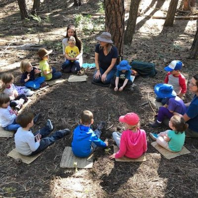 SOL Forest School circle of treeschoolers and teachers