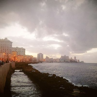 Waterfront scene in Cuba
