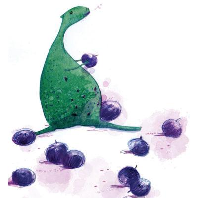 illustration of dinosaur and berries