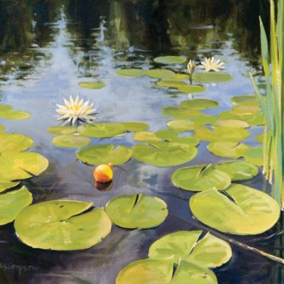 Painting of lily pads and bobber