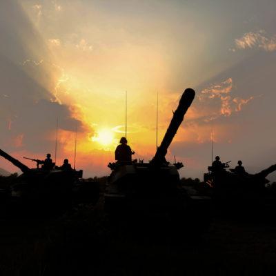 Tanks at sunrise