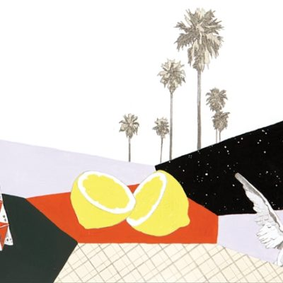 Abstract illustration of lemons and cards and trees