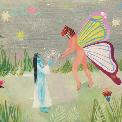 A painting shows two creatures in a garden exchanging a gift