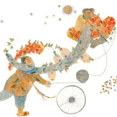 Colorful illustration of two people playing