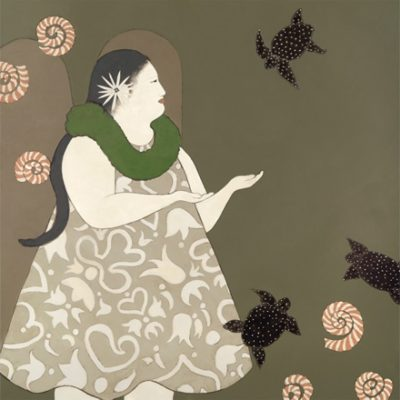 Illustration of woman with flying turtles