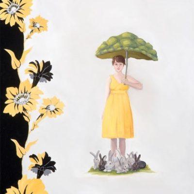 Illustration of woman and bunnies under umbrella