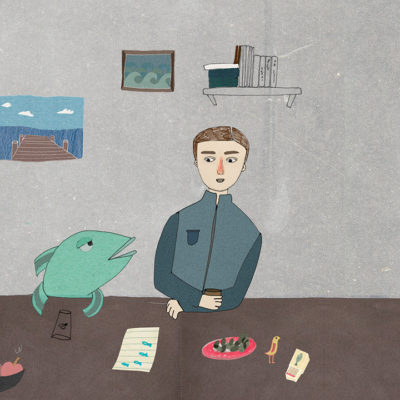 Man in office with fish