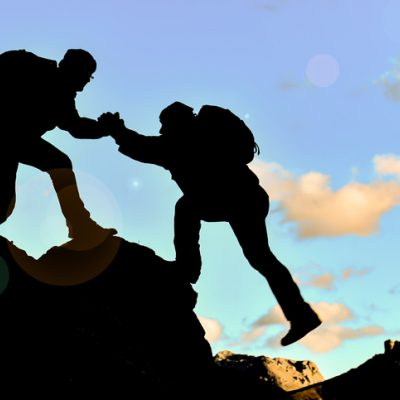 Compassionate climber helps broken friend up mountain without judgment