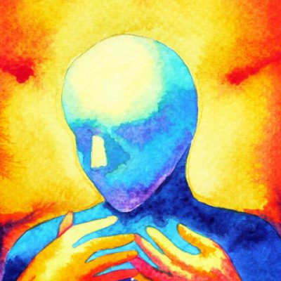 painting of human figure with bright fire-like colors