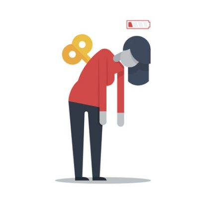 vector of woman with wind-up toy key in her back and low battery sign to signal needing rest