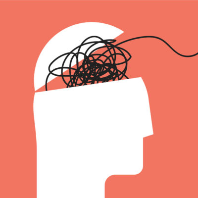 illustration of overwhelm: humans head silhouette with messy lines of thinks
