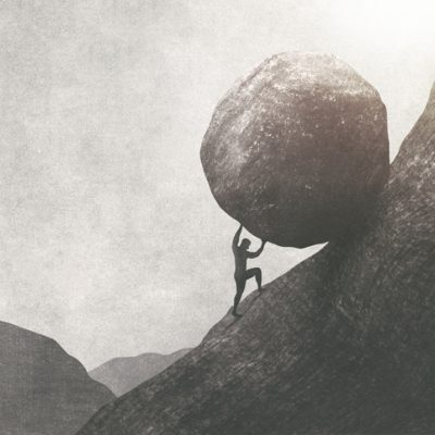 man pushing boulder up mountain original sin