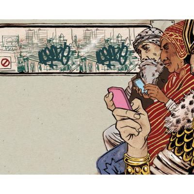 Illustration of historical figures on phones