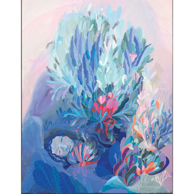 Abstract painting of woman in bushes