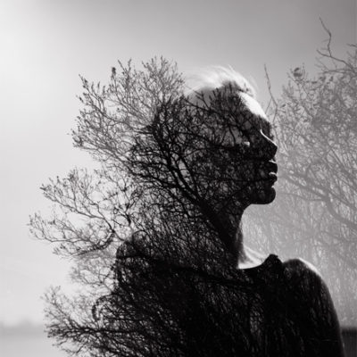 Silhouette of meditating woman. Mindfulness concept for Black mental health and the BLM movement