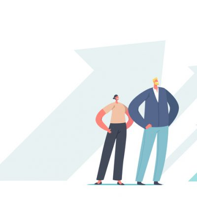 illustration two figures standing with hands on hips with arrows pointing up behind them
