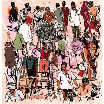 Illustration of people traveling