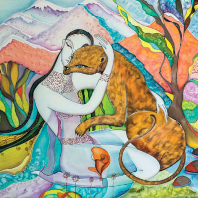 Silk painting of Woman and cat in mountains
