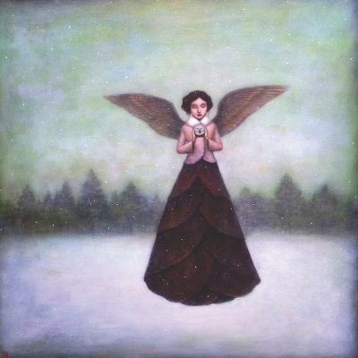 Winter Wings by Duy Huynh, painting of angel in a snowy landscape