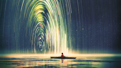 Boy Sitting In A Boat Under A Lit Up Sky