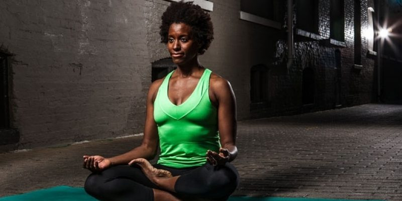 Author in meditation pose