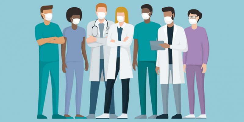 Doctors and nurses wearing facemasks