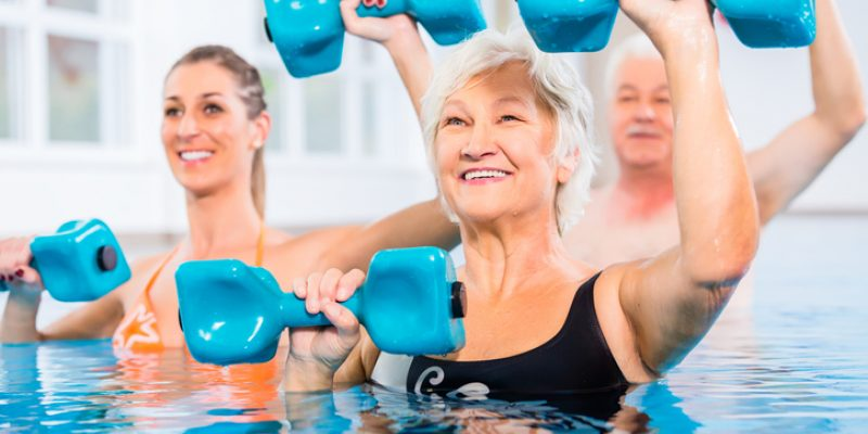 Exercise class in a pool