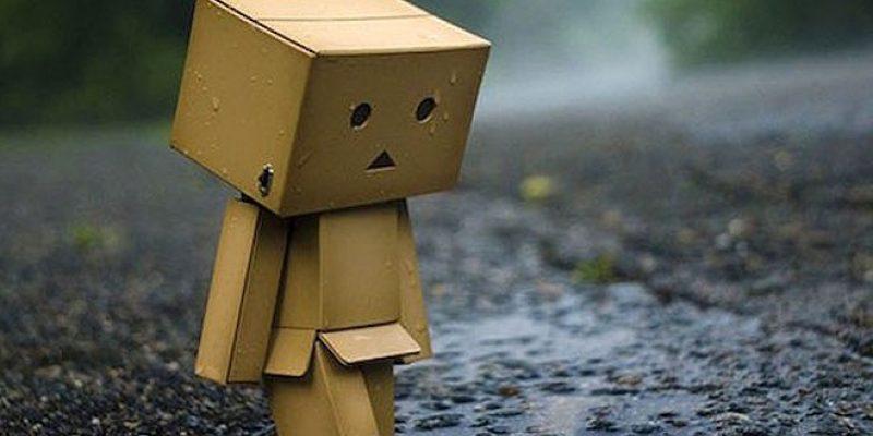 Box in rain